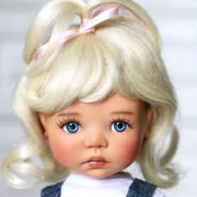 "MONIQUE DOLL WIG CINDY BLOND 12/13 FOR BJD MEADOWDOLLS BIG SAFFI BAILEY SILVIA SCARLETT... 18"" DOLLS"