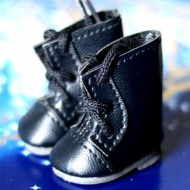 FAUX LEATHER BLACK BOOTS SHOES FOR BJD MY MEADOWS DOLLS GIGI PATTI BAILEY TELLA ...3.8 X 2 CM AND DOLLS WITH SIMILAR FOOT SIZE