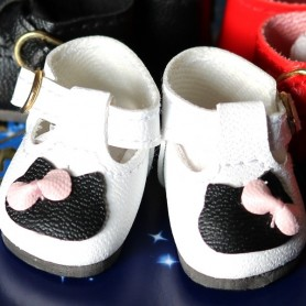 CHAUSSURES KITTY CHAT SHOES CUIR POUR POUPEE BJD DOLL MEADOWDOLLS DUMPLING PATTI TELLA GIGI BAILEY 3.8 X 2 CM DOLL SHOES