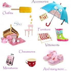"OUTFITS SHOES FURNITURE ACCESSORIES MINIATURES FOR 18"" MEADOWDOLLS GOTZ AMERICAN GIRL... BIG DOLLS ETC..."