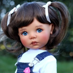 "PERRUQUE MONIQUE WIG LINA BRUNE LIGHT BROWN 12.13 POUR POUPÉE BJD MEADOWDOLLS 18"" DOLLS"