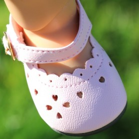 "BABY HEART CUT SHOES 7 X 3.5 CM FOR DOLLS BJD MY MEADOW SAFFI BAILEY 18"" AMERICAN GIRL GOTZ DOLLS ETC..."