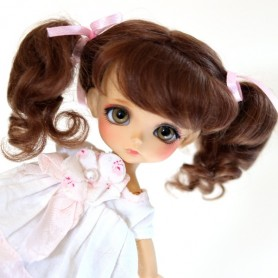 PERRUQUE WIG MOHAIR COLINE BROWN BJD LATI YELLOW PUKIFEE BJD MY MEADOWS CHARA NAVI DOLLZONE LANKUI 5/6