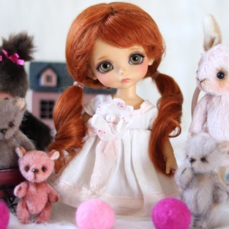 MOHAIR RED FOX MARINETTE WIG BJD LATI YELLOW PUKIFEE BJD MY MEADOWS CHARA NAVI DOLLZONE LANKUI 5/6