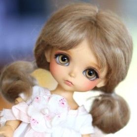 PERRUQUE WIG MOHAIR MARINETTE LIGHT BROWN BJD LATI YELLOW PUKIFEE BJD MY MEADOWS CHARA NAVI DOLLZONE LANKUI 5/6
