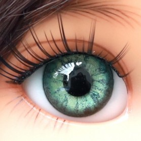 OVAL REAL AQUAMARINE GREEN 14 mm GLASS EYES FOR DOLL BJD LATI YELLOW BEAR REBORN DOLLMORE IPLEHOUSE DOLLS