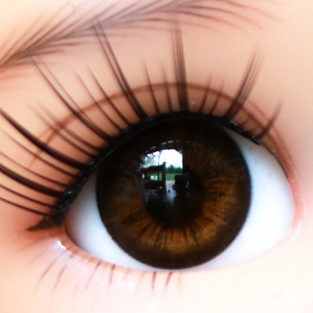 YEUX EN VERRE OVAL BROWNIE 18 mm GLASS EYES POUR POUPÉE BJD BALL JOINTED DOLL MY MEADOWS SAFFI BAILEY