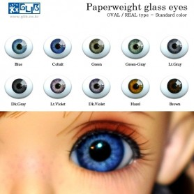 OVAL REAL BLUE COBALT 8 mm PAPERWEIGHT GLASS EYES FOR DOLL BJD BALL JOINTED DOLL LATI WHITE IPLEHOUSE DOLL