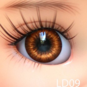 YEUX GLIB MARRON NOISETTE BROWN 12LD09 REALISTIC EYES POUPÉE BJD BALL JOINTED DOLL LATI YELLOW PUKIFEE 12 mm