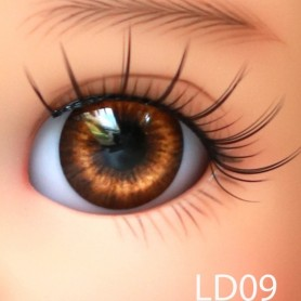 GLIB NOISETTE BROWN 14LD09 EYES DOLL BJD BALL JOINTED DOLL LATI YELLOW 14 mm