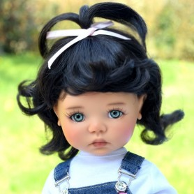 "PERRUQUE MONIQUE WIG CINDY MILOU BLACK 12.13 POUR BJD MY MEADOWS 18"" DOLLS ETC..."