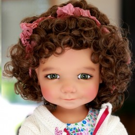 "MONIQUE MOHAIR WIG CHLOE BROWN 12/13 FOR BJD MY MEADOWS 18"" DOLLS ETC..."