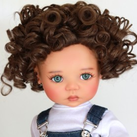 "PERRUQUE MONIQUE WIG LANEY BROWN MOHAIR 12.13 POUR BJD MY MEADOWS 18"" DOLLS ETC..."