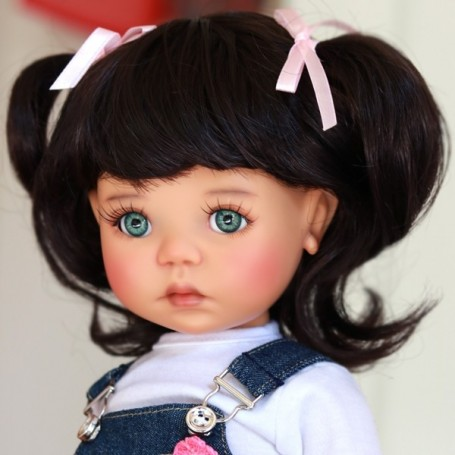 "PERRUQUE MONIQUE WIG LINA DARK BROWN 12.13 POUR BJD MY MEADOWS 18"" DOLLS ETC..."