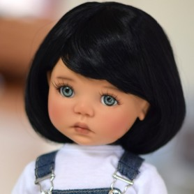 "PERRUQUE MONIQUE WIG DOMINO DORIS BLACK 12.13 POUR POUPÉE BJD MEADOWDOLLS 18"" DOLL SAFFI BAILEY ..."