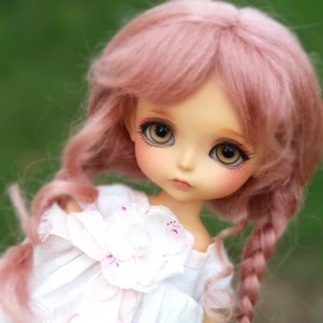 "Brown 5-6/"" Mohair Lati Yellow BJD SD Mohair Pigtail Wig"