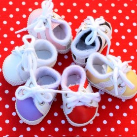CHAUSSURES TENNIS SHOES 38 X 2 CM MULTICOLORE POUR POUPÉE BJD MEADOWDOLLS DUMPLING DOLLS