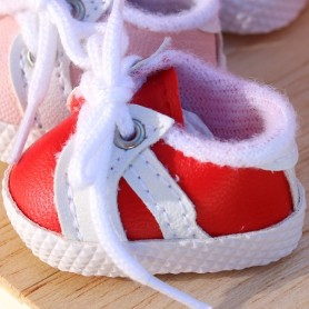 SNEAKERS RED TENNIS SHOES 38 X 2 CM BJD MEADOWSDOLLS MY MEADOWS DOLLS GIGI SAFFI BAILEY... AND DOLLS WITH SIMILAR FOOT SIZE
