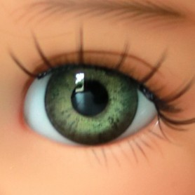 OVAL REAL GREEN FROG 12 mm GLASS EYES FOR DOLL BJD LATI YELLOW MY MEADOWS GIGI BAILEY PATTI ...