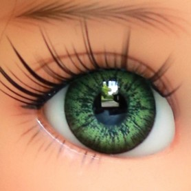 OVAL REAL EMERALD 12 mm GLASS EYES FOR DOLL BJD LATI YELLOW MY MEADOWS GIGI BAILEY PATTI ...