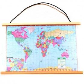 WOLD MAP MINIATURE FOR DOLLHOUSE DIORAMA CABINET...