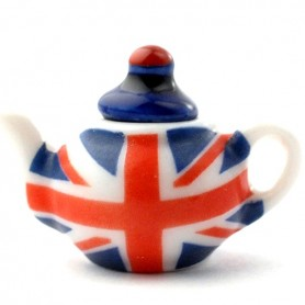 UNION JACK BRITISH TEAPOT MINIATURE DIORAMA DOLLHOUSE JEWEL DIY