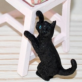 LOVELY PLAYING BLACK CAT MINIATURE BARBIE FASHION ROYALTY LATI YELLOW PUKIFEE BJD BLYTHE PULLIP DOLLHOUSE DIORAMA DOLL