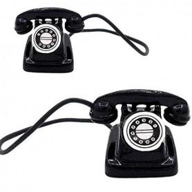 MINIATURE BLACK PHONE VINTAGE 80' BARBIE FASHION ROYALTY SYBARITE TONNER BJD BLYTHE PULLIP DIORAMAS PLAYSCALE DOLLHOUSE