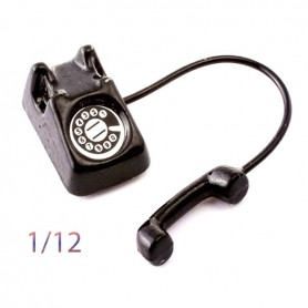 MINIATURE BLACK PHONE 1.7 CM VINTAGE 80' FOR DOLLHOUSE DIORAMA 1.12 SCALE
