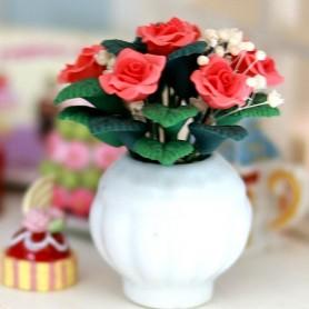 PEACH ROSES IN VASE FLOWERS MINIATURE LATI YELLOW PUKIFEE BJD BLYTHE PULLIP BARBIE DOLL ROOM DIORAMA DOLLHOUSE
