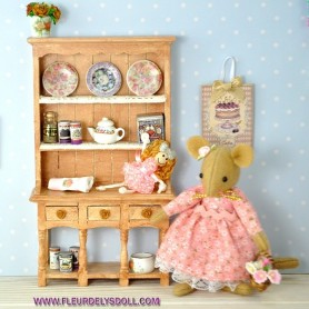 OOAK SHABBY CHIC FRENCH CUPBOARD HUTCH DRESSER FOR DOLLHOUSE, DIORAMA, LATI YELLOW, FURNITURE 1:12