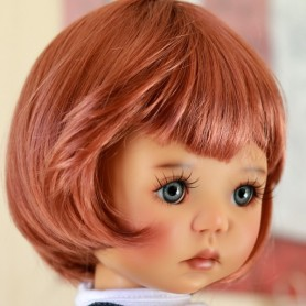 "DOUBLE RED MOHAIR WIG BOB CUT 12/13 EXCLUSIVE FDL FOR BJD MY MEADOWS 18"" DOLLS ETC..."