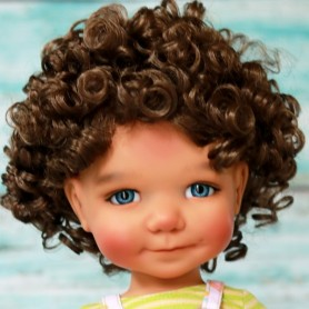 "PERRUQUE MONIQUE WIG CURLY BROWN 12.13 POUR BJD MY MEADOWS 18"" DOLLS SAFFI BAILEY SCARLETT ...ETC..."