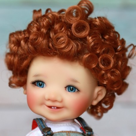 "1//4 1//3 bjd 7-8/"" doll head brown curly long wig dollfie MSD Luts Iplehouse"