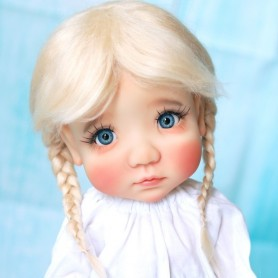 BLOND BRAIDS WIG PUR MOHAIR FOR BJD DOLL MY MEADOWS MEADOWDOLLS MAE AND BLYTHE NEO BLYTHE DOLLS...10/11""