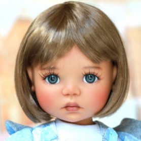 "BROWN WIG BOB CUT 12/13 EXCLUSIVE FDL FOR BJD MEADOWDOLLS BIG SAFFI BAILEY SILVIA SCARLETT... 18"" DOLLS"