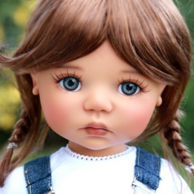 """TESSIE REDDISH BROWN MOHAIR WIG 12/13 EXCLUSIVE FDL FOR BJD MY MEADOWS 18"""" DOLLS ETC..."""