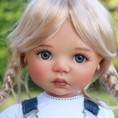 """PERRUQUE WIG TESSIE DUO BLOND MOHAIR 12.13 EXCLUSIVE FDL BJD MY MEADOWS 18"""" DOLLS ETC..."""