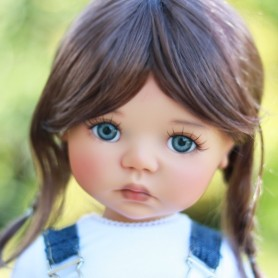 "PERRUQUE WIG TESSIE CHESNUT BROWN MOHAIR 12.13 EXCLUSIVE FDL BJD MY MEADOWS 18"" DOLLS ETC..."