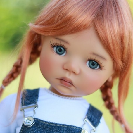 """PERRUQUE WIG TESSIE NEW CARROT RED MOHAIR 12.13 EXCLUSIVE FDL BJD MY MEADOWS 18"""" DOLLS ETC..."""