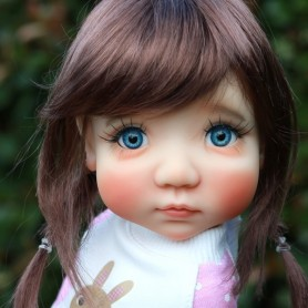 MONIQUE TESSIE WIG CHESTNUT BROWN 10.11 BJD DOLLS BLYTHE MEADOWDOLLS MAE ADRYN ZWERGNASE DOLL