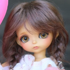 TESSIE CHESTNUT BROWN MOHAIR WIG FOR LATI YELLOW PUKIFEE BJD 5/6