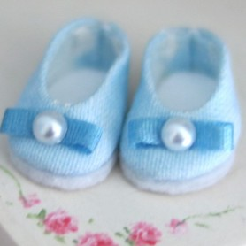 LOVELY SHOES POMPOM LIGHT BLUE FOR BJD LATI WHITE AND OTHER SMALL DOLLS