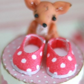 LOVELY SHOES POMPOM DARK PINK FOR BJD LATI WHITE AND OTHER SMALL DOLLS