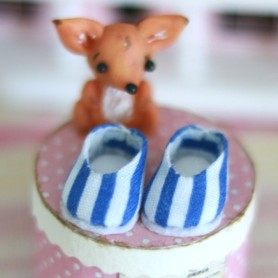 LOVELY SHOES POMPOM BLUE FOR BJD LATI WHITE AND OTHER SMALL DOLLS