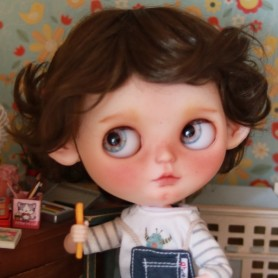 PERRUQUE WIG BOB BOY OR GIRL BROWN POUR POUPEES BLYTHE & NEO BLYTHE 10-11