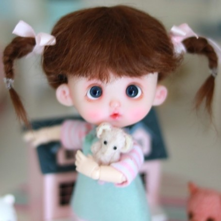 MOHAIR MAELYS BROWN WIG BJD LATI YELLOW PUKIFEE BJD MY MEADOWS CHARA NAVI DOLLZONE LANKUI 5/6