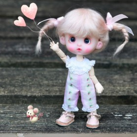 MOHAIR MAELYS LIGHT PINK WIG BJD LATI YELLOW PUKIFEE BJD MY MEADOWS CHARA NAVI DOLLZONE LANKUI 5/6