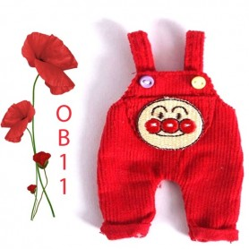 RED CLOWN OVERALL OUTFIT FOR OB11 STODOLL LATI WHITE SP PUKIPUKI OBITSU 11 CM DOLLS