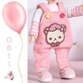 PINK BEAR OVERALL OUTFIT FOR OB11 STODOLL LATI WHITE SP PUKIPUKI OBITSU 11 CM DOLL